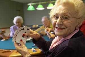 Waterford South assisted living residents enjoy playing cards, bingo and otehr games with friends